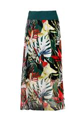 MADE IN ITALY GREEN MULTI LEAVE PRINT SILKY SKIRT
