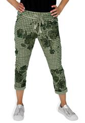 MADE IN ITALY GREEN HOUNDSTOOTH FLORAL TROUSERS