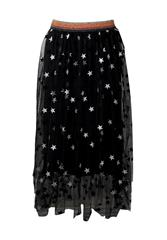 MADE IN ITALY BLACK TULE STAR PRINT SKIRT