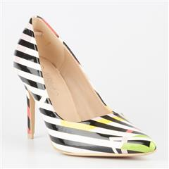 MISS BLACK ALIPA  MULTI STRIPE HIGH HEEL