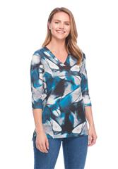 FRENCH DRESSING JEANS BLUE ABSTRACT PRINT VNECK 3/4 SLEEVE TOP