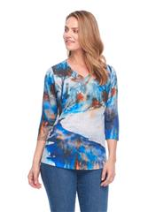 FRENCH DRESSING JEANS MULTI COLOUR WINTERBROOK SCENE PRINT VNECK 3/4 SLEEVE TOP