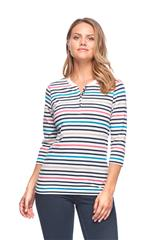 FRENCH DRESSING JEANS MULTI STRIPE VNECK HENLEY TOP