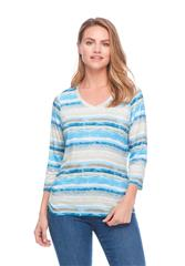 FRENCH DRESSING JEANS CHAMBRAY VISTA STRIPE PRINT VNECK TOP