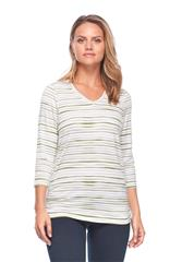 FRENCH DRESSING JEANS OLIVE PAINTED STRIPE PRINT VNECK TOP