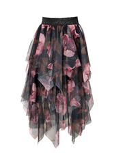 MADE IN ITALY BLACK FLORAL MESH SKIRT