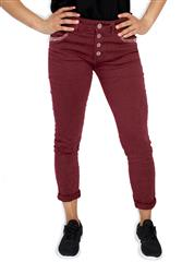 MADE IN ITALY MAROON SEQUENCE DETAIL JEANS