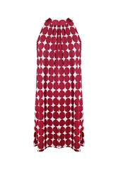 MADE IN ITALY MAROON WHITE POLKA DOT DRESS