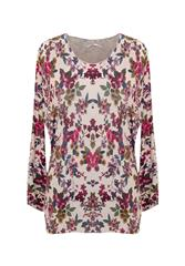 MADE IN ITALY BEIGE MULTI FLORAL PRINT LONG SLEEVE TOP