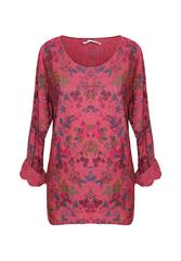 MADE IN ITALY RED MULTI FLORAL LONG SLEEVE TOP