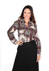 GERRY WEBER BROWN MULTI BLOUSE WITH BUTTONS