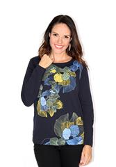 GERRY WEBER NAVY TOP WITH FLORAL DETAIL