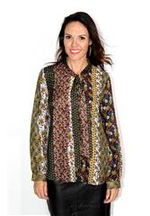 GERRY WEBER BLACK MULTI PRINT BLOUSE WITH TIE AT NECK