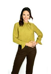 GERRY WEBER GREEN BLOUSE WITH CUFFED SLEEVES