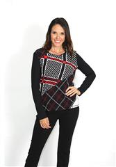 GERRY WEBER BLACK RED WHITE PRINT TOP