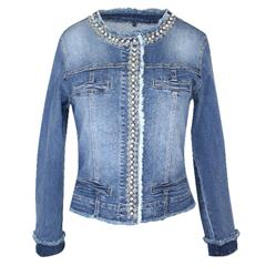 MADE IN ITALY BLUE DENIM JACKET WITH PEARL DETAIL ON LAPEL