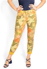 MADE IN ITALY MUSTARD FLORAL REVERSIBLE JEANS