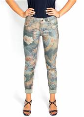 MADE IN ITALY ARMY GREEN FLORAL REVERSIBLE JEANS