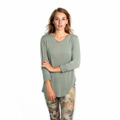MADE IN ITALY OLIVE GLITTER NECKLINE TOP