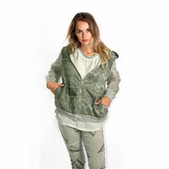 MADE IN ITALY GREEN LACE DETAIL HOODED JACKET WITH ZIP