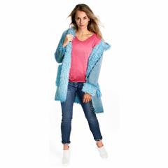 MADE IN ITALY TEAL FAUX FUR HOODED JACKET