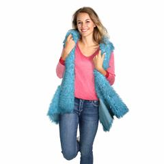 MADE IN ITALY TEAL FAUX FUR SLEEVELESS JACKET