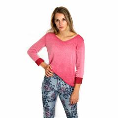 MADE IN ITALY MAROON FADED LONG SLEEVE TOP