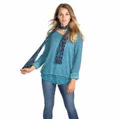 MADE IN ITALY TEAL FLORAL INSERT TOP AND SCARF