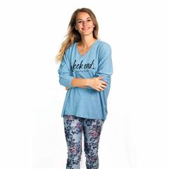 MADE IN ITALY SKY LOOSE FITTED WEEKEND PRINT TOP