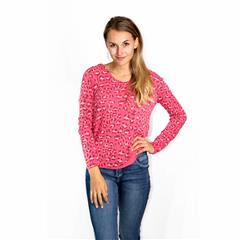 MADE IN ITALY PINK LEOPARD PRINT LONG SLEEVE TOP