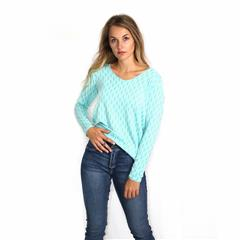MADE IN ITALY TURQUOISE GOLD STRIPE DETAIL TOP