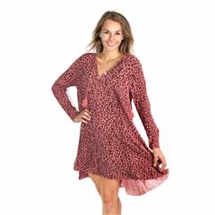 MADE IN ITALY PINK LEOPARD PRINT FLARE DRESS