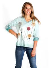 MADE IN ITALY TURQUOISE BALLOON DETAIL TOP