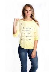 MADE IN ITALY YELLOW SHEEN PRINT TOP