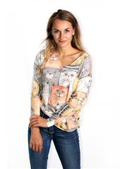 MADE IN ITALY GREY CAT GRAPHIC TOP