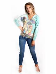 MADE IN ITALY LIME ABSTRACT FACE GRAPHIC TOP