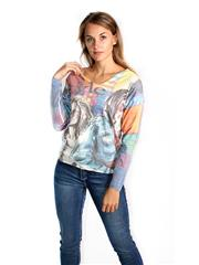 MADE IN ITALY YELLOW MULTI COLOUR FACES GRAPHIC TOP