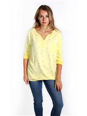 MADE IN ITALY YELLOW FEATHER PRINT TOP