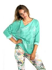 MADE IN ITALY GREEN LACE PATCH DETAIL METALLIC PRINT TOP