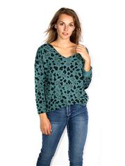 MADE IN ITALY TEAL GLITTER LEOPARD TOP