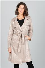 BRAVE + TRUE BEIGE FAUX NATURAL REPTILE TRENCH COAT