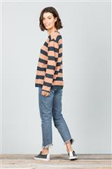 BRAVE + TRUE CHARCOAL STRIPE PETRA KNIT