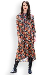 MASTIK ORANGE MULTICOLOUR FLORAL DRESS