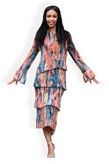 MASTIK FLORAL RUCHED  DRESS WITH BELL SLEEVES