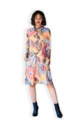 MASTIK ORANGE PRINT SHIRT DRESS