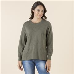 GORDON SMITH KHAKI I HEART ME SWEATER