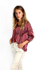 MADE IN ITALY MAROON LEAF PRINT TOP