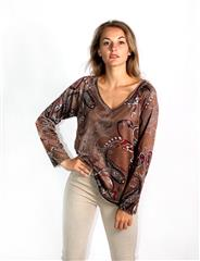 MADE IN ITALY BROWN PAISLEY PRINT TOP
