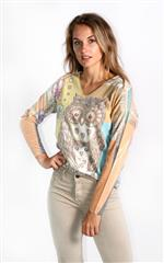 MADE IN ITALY BEIGE MULTI COLOUR OWL PRINT TOP