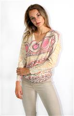 MADE IN ITALY PINK MULTI PAINTED GRAPHICS TOP